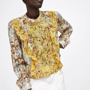 ZARA EMBROIDERED FLORAL PRINT HIGH COLLAR BLOUSE